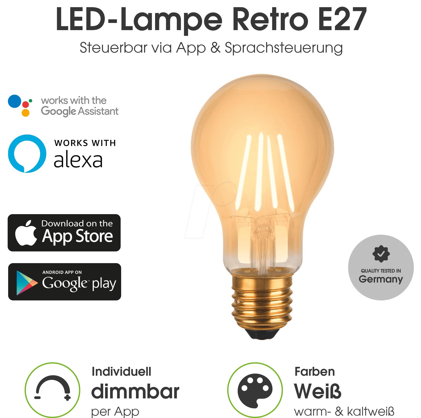 Smart Light, Lampe, E27, Warmweiß, Filament, EEK A+, WLAN