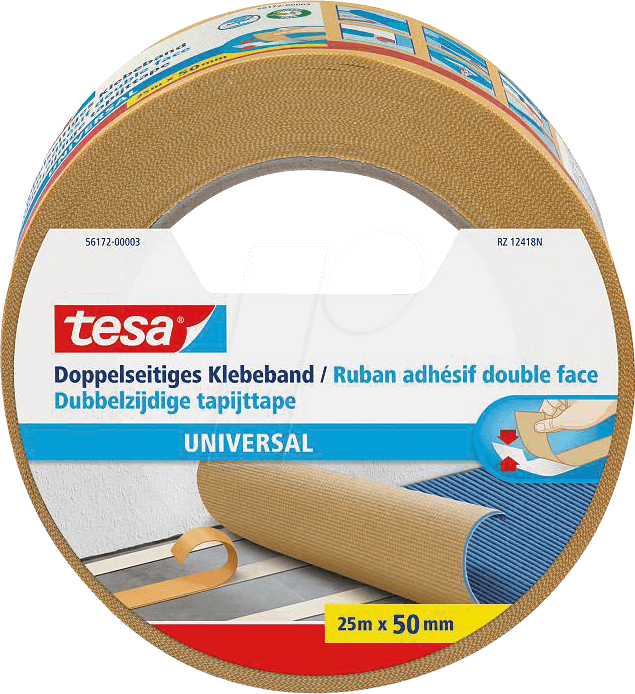 tesa 56172 tesa double sided adhesive tape 25 m x 50 mm. Black Bedroom Furniture Sets. Home Design Ideas