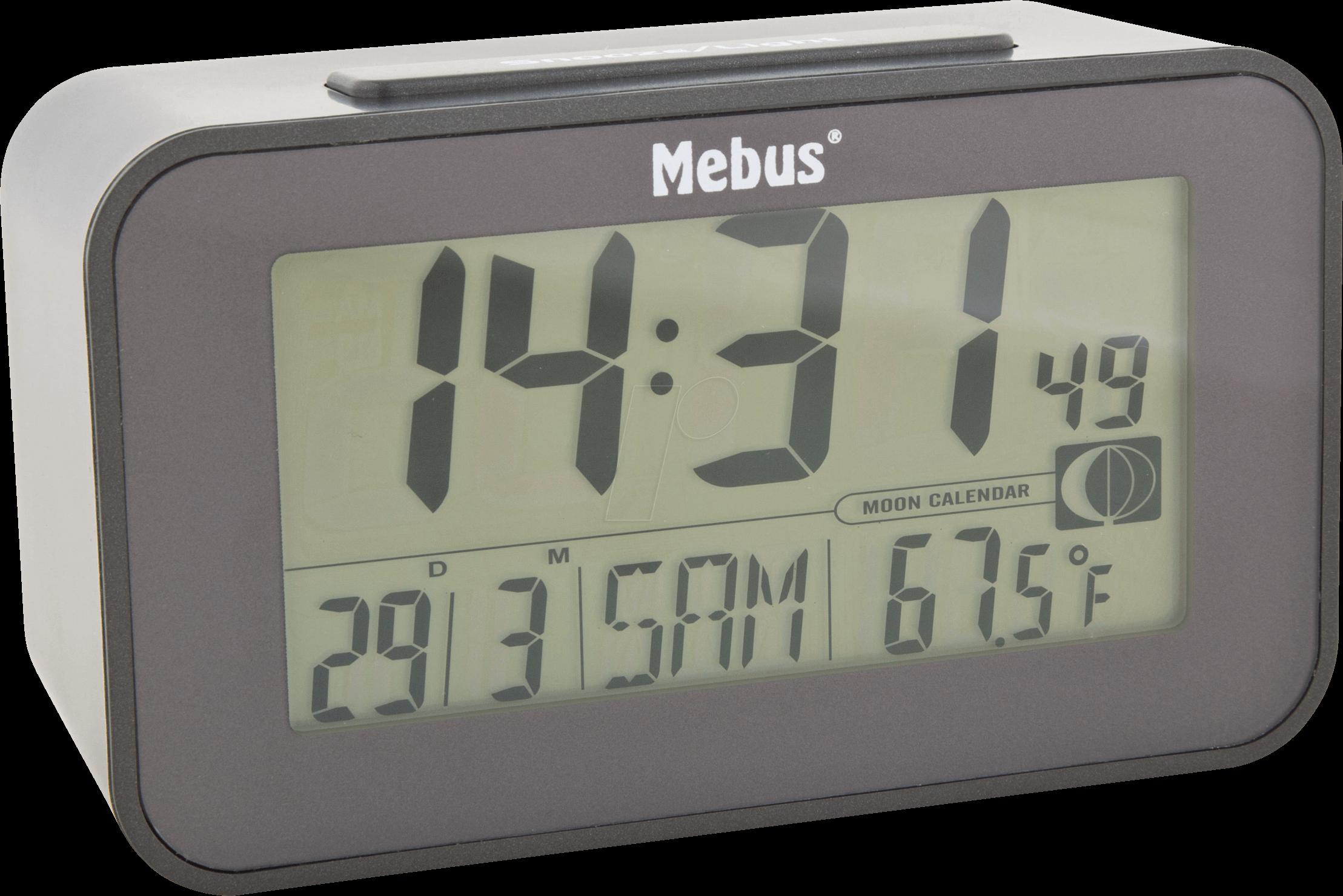 MEBUS 51460 - Funkwecker digital, Mondphasenanzeige, schwarz