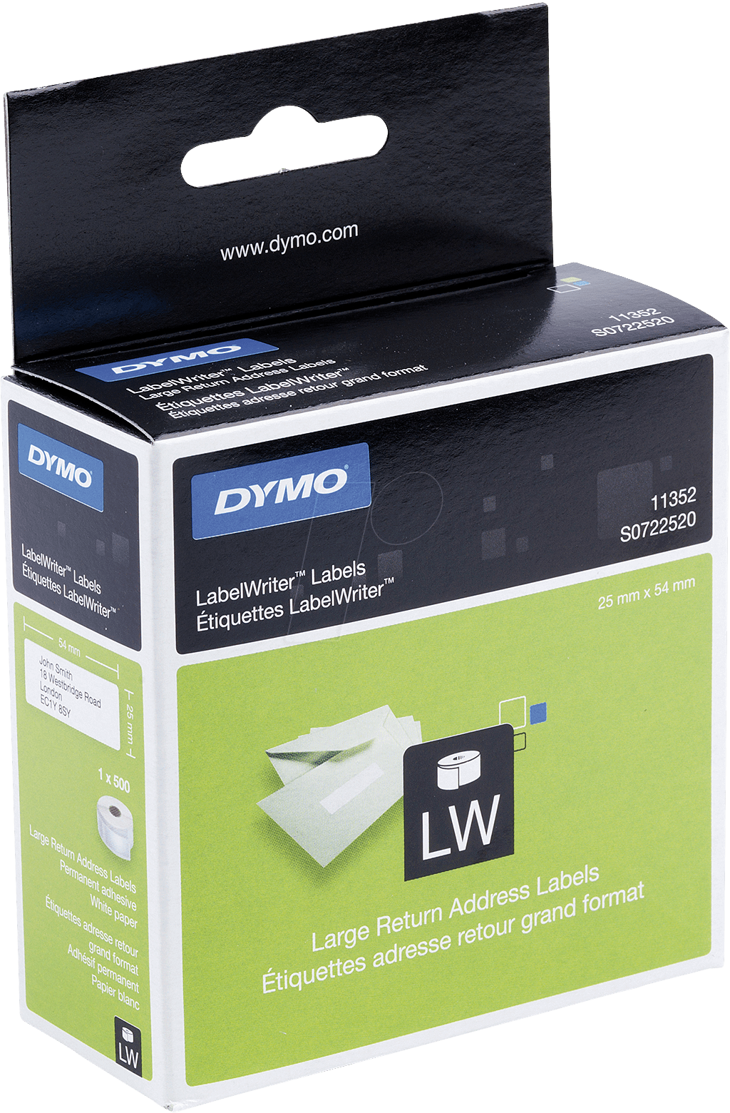 Dymo lw 11352 dymo labels for labelwriter 25 x 54 mm at for Dymo label stickers