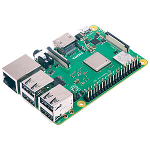 raspberry pi circuit board with two USB ports and one ethernet port