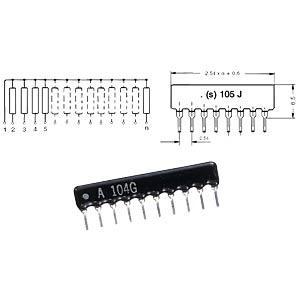 MajorBrand SIL 6-5 100 - Widerstands-Netzwerk, 5Wid./6Pins, 100 Ohm