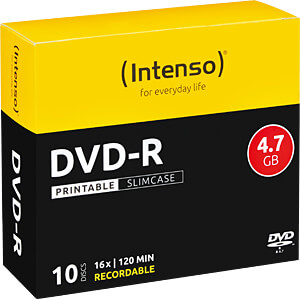 DVD-R4,7 INT10P - Intenso DVD-R 4,7GB, SlimCase, printable 4801652